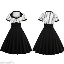 Rockabilly 50s Vintage Retro Pin Up Evening Party Swing Dress Size S-4XL Plus