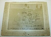 Antique Cabinet Photograph - Soldiers Eating Watermelon Dated 1900