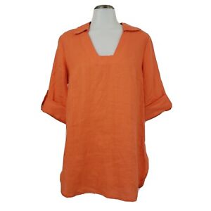 Soft Surroudings Womens Morgana Tunic Top Fiery Orange 100% Linen Size Small