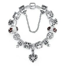 New European Silver Bracelet best friend for Women With heart charms DIY 20cm