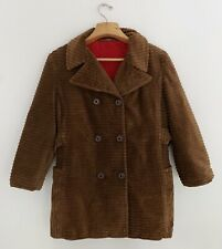 Vintage Sears Women Coat Sz M Brown Corduroy Lined Double Breasted