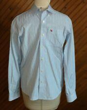 Abercrombie Boys Size XL Button-up Shirt Blue White Stitched Logo Long Sleeve
