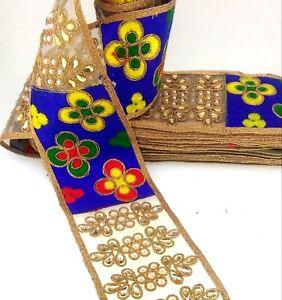 JOB LOT Indian Ethnic Colorful Trim Ribbon Sewing Craft Lace Sari Border 1 Yard