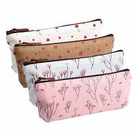 1x Fashion Flower Floral Pencil Pen Case Cosmetic Makeup Bag Zipper Pouch Purse