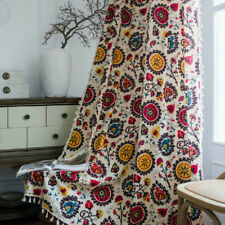Flower Window Rod Pocket Curtains Cotton Linen Bedroom Room Boho Home Decor