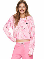 Victoria's Secret Pink Campus Cropped Tee Long Sleeve NWT Large Rose Chiffon
