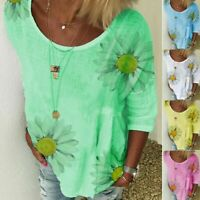 Women Long Sleeve Sunflower Summer Casual Loose Ladies T-Shirt Tops Blouse Tee