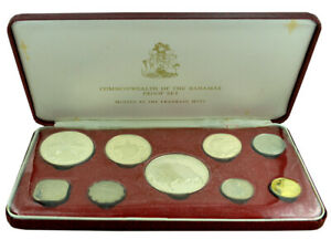BAHAMAS 1974 Proof 9-Coin Set 'Flora & Fauna' 100g Silver Franklin Mint in Box