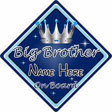 Personalizado De Niño/Bebé A Bordo Coche Firmar ~ Big Brother a bordo ~ D. Azul