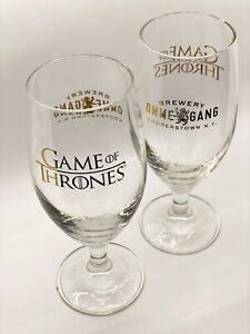 "Ommegang Brewery GOT Game Of Thrones HBO - 2 Beer 7"" Goblet Glass Cooperstown NY"