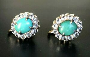 14CT solid gold W/ Turquoise & white topaz earrings 9.27g