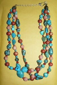 """~JAY~KING~""""DTR""""~STERLING~SILVER~TURQUOISE~CARVED~CORAL~3~STRAND~NECKLACE~163.3g~"""