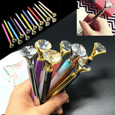 10Pcs Creative Glass Crystal Pens Ballpoint Roller Diamond Big Metal