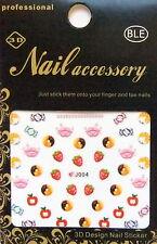 Nailart Nagel Sticker bunt Sweets, Kiss, Candy, Kussmund, Süßigkeiten, Food J004