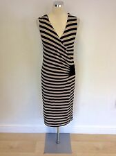 MARKS & SPENCER AUTOGRAPH BLACK & BEIGE STRIPE WRAP DRESS SIZE 10