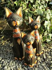 Hand Carved Made Wooden Brown Cat Cats Statues Set Of 3 Sculpture Ornaments