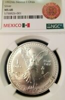 1992 MEXICO SILVER LIBERTAD 1 ONZA NGC MS 68 BETTER DATE VERY HIGH GRADE COIN