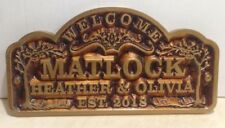 Personalized WOOD Sign Family Name.V-carved. Brass lettering . Engraved.Gift.
