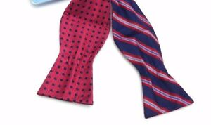 $90 Countess Mara Men`S Blue Red White Reversible Bow Tie Silk Adjustable Bowtie