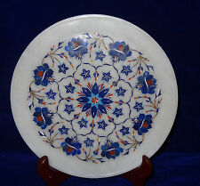 """10"""" White Marble Plate Lapis Lazuli Floral Inlay Marquetry Kitchen Decorative"""