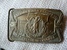 Y Cia. Republica Mexicana Belt Buckle 1960s - Solid Brass Express Wells Fargo