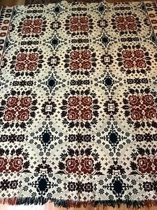 ANTIQUE AMERICAN COVERLET, SUMMER WINTER, ROSE BOUQUET DESIGN