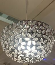 Vintage Jewel Floral Moroccan Chrome Silver Ceiling Uplighter Shade NEW Pendant