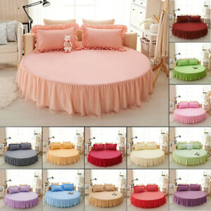 Luxury 100% Cotton Bed skirt Round Full Mattress Protector Fitted Sheet