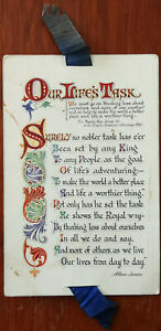 """Our Life's Task's, Valentine's """"Helpful Thoughts"""" Post card with Blue Ribbon"""