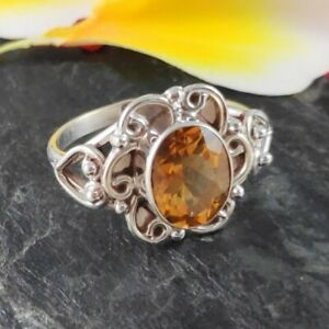 Solid 925 Silver Natural Citrine Ring Sterling Handmade Rings Women Gift Jewelry