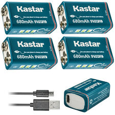 Kastar 4 Pack 9V 6F22 Rechargeable USB Battery 9 Volt Li-ion Battery for MIC RC