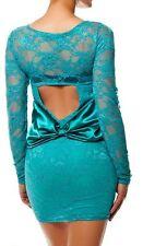 SEXY MISS Femmes Mini Robe chic dentelle dress Satin Boucle 34/36/38 Aqua Top
