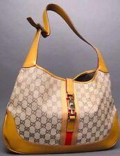 Gucci Jackie O Monogram GG Canvas Leather Trim Signature Stripe Handbag RTL $900