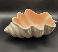 Vintage Ceramic Seashell Planter White with Pink Interior Beach Decor Conch