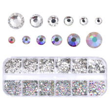 1440pcs/Pack Glass Nails Rhinestones Multi-size Crystals Rhinestone Charms Tips