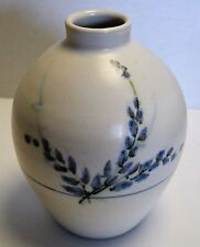 """Handmade Pottery White with Blue Flowers Vase 6"""" tall 5"""" across"""