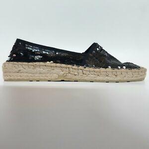 Fabiolas Black Sequin Espadrilles UK Size 7 Flat Shoes Sandals Wedge Low Heel 40
