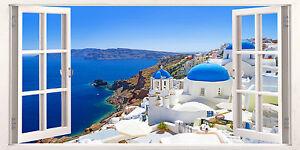 Santorini Greece Holiday Escape 3D Effect Window Canvas Picture Wall Art Prints