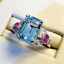 Elegant Women 925 Silver Aquamarine Gem Ring Wedding Engagement Jewelry Sz 6-10