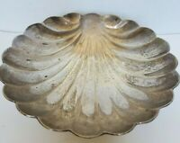 VTG Silver Plated Clam Shell Shaped Serving Dish Footed Bowl Coastal 7 3/4""