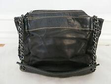 CHANEL black leather shoulder bag w/chain strap