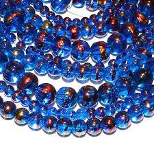 "G2380 3-Strand Dark Blue 4mm 6mm 8mm Round Metallic Drawbench Glass Bead 32"""