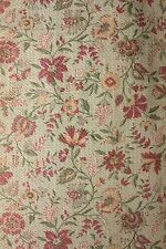 Vintage French textured cotton 1930's faded floral fabric material green ground
