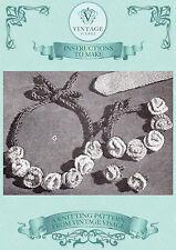 Vintage 1940s knitting pattern-pretty & easy flower necklace,bracelet, earrings