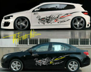 A Set Black Dragon Totem Power Car Body Side Hood PVC Stickers Racing Decals New