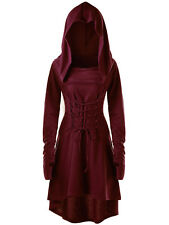 Halloween Goth Women Costume Hoodie Tops Steampunk High Low Hooded Lace Up Dress