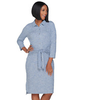 H by Halston Regular Rib Knit Button Front Dress with Tie - Catalina Blue - XL
