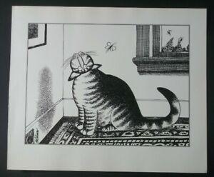 B Kliban Cats UPSIDE DOWN CAT vintage funny cat art print