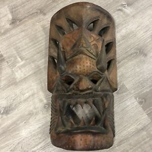 VINTAGE LARGE WOOD FACE CARVED MASK WALL SCULPTURE HANDCRAFTED THAILAND RARE