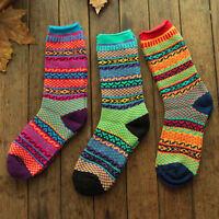 Ethnic New Men Women Multi-Color Striped Knitted Socks Cotton Middle Tube Socks